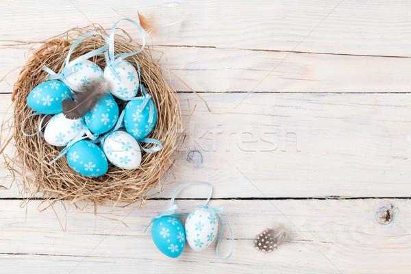 Pâques bleu blanche oeufs nid bois Photo stock © karandaev