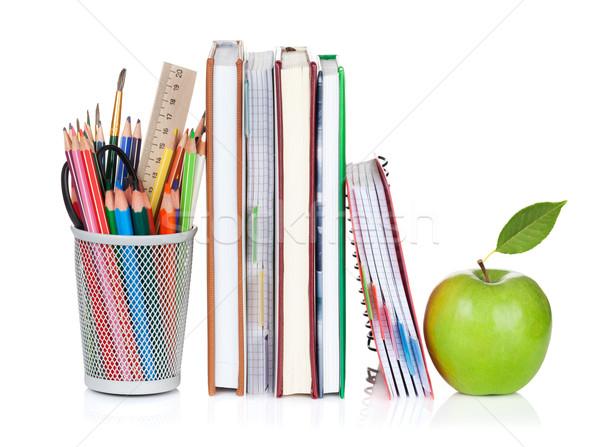 学校 事務用品 カラフル 鉛筆 リンゴ 孤立した ストックフォト © karandaev