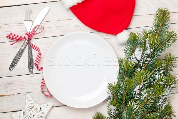 空っぽ プレート 銀食器 クリスマスツリー 白 ストックフォト © karandaev
