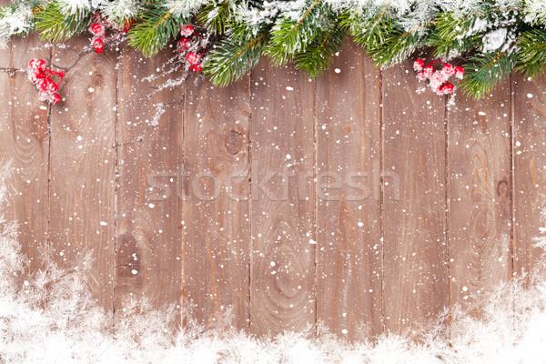 Stock fotó: Karácsony · fenyőfa · fából · készült · hó · kilátás · copy · space
