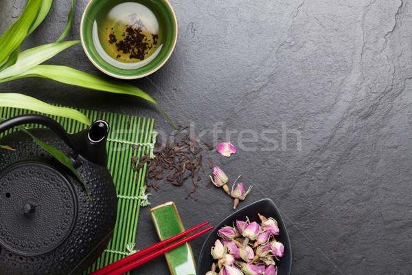 Asian sushi eetstokjes steeg thee theepot Stockfoto © karandaev