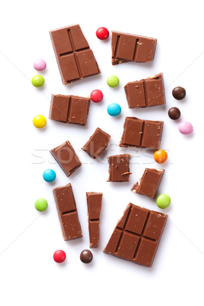 Stock fotó: Törött · csokoládé · szelet · cukorkák · színes · cukorka · édesség