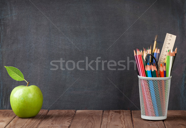 School and office supplies and apple Stock photo © karandaev