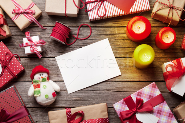Christmas gift boxes wrapping Stock photo © karandaev