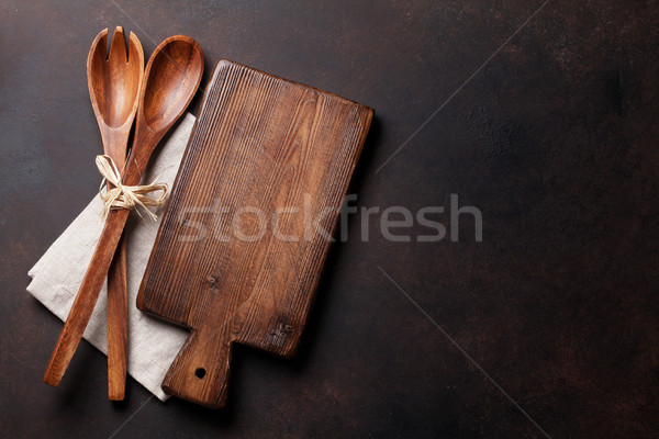 Old vintage kitchen utensils. Top view Stock photo © karandaev