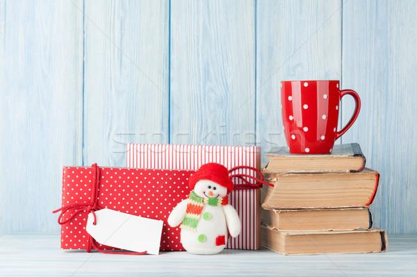 Stok fotoğraf: Sıcak · çikolata · fincan · Noel · hediyeler · hediye · kutuları · görmek