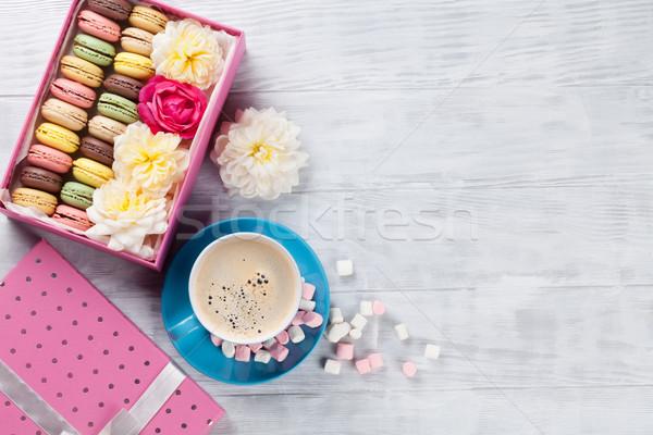 コーヒー 甘い マカロン ギフトボックス カラフル マシュマロ ストックフォト © karandaev