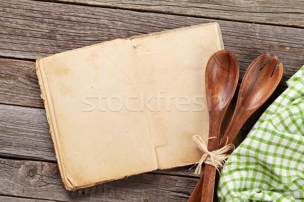 Vintage receita cozinhar livro utensílios topo Foto stock © karandaev