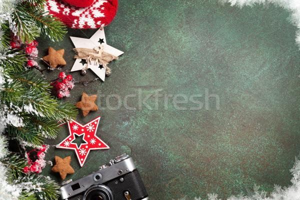 Stock fotó: Karácsony · karácsony · üdvözlőlap · hó · fenyőfa · dekoráció