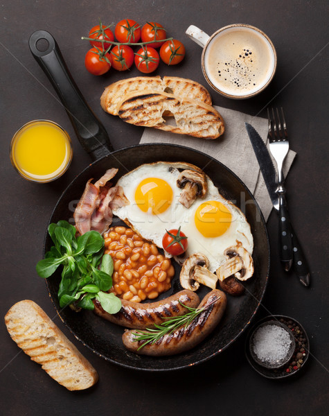 English colazione uova salsicce pancetta Foto d'archivio © karandaev