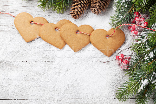 Christmas background with fir tree and cookies Stock photo © karandaev