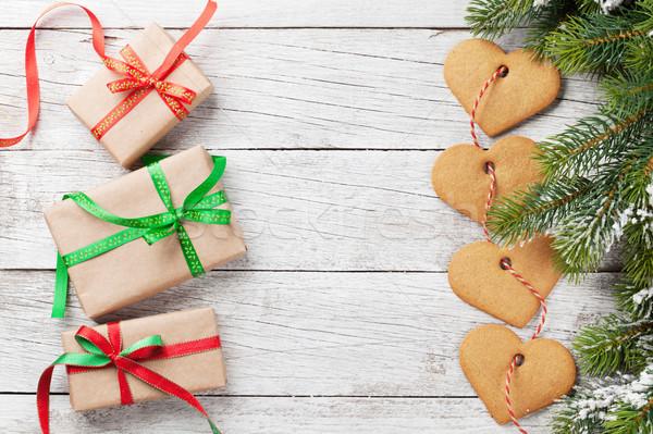 Navidad cajas de regalo cookies nieve pan de jengibre Foto stock © karandaev