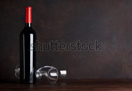 бутылку очки доске стены копия пространства Сток-фото © karandaev