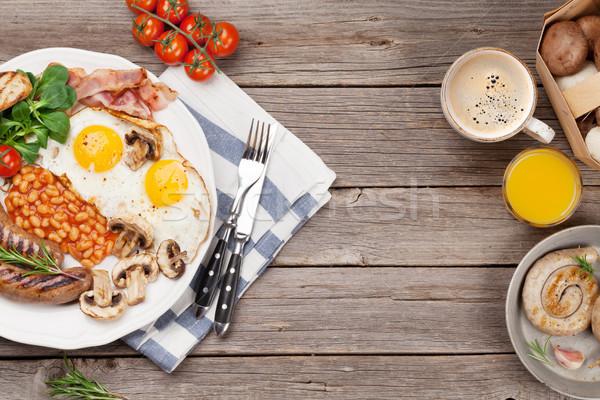 Angielski śniadanie jaj kiełbasy boczek Zdjęcia stock © karandaev