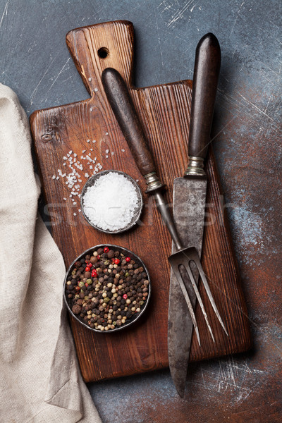 Vintage kitchen utensils and spices Stock photo © karandaev