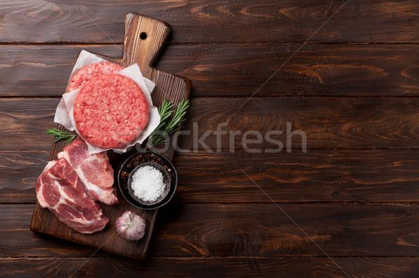 Raw minced meat cooking Stock photo © karandaev