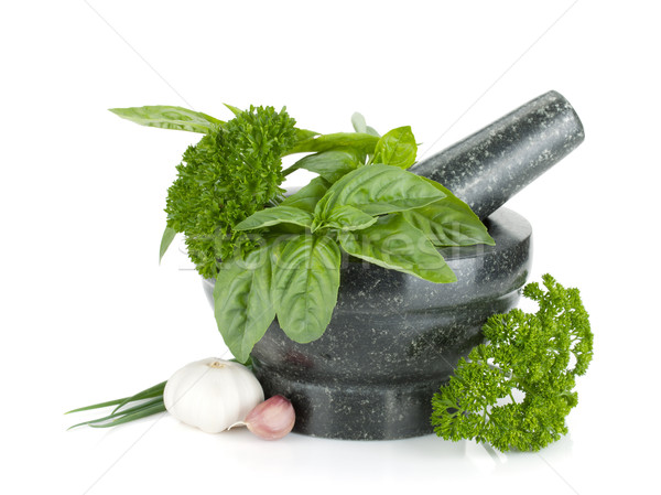 Fresh flavoring herbs and spices in mortar Stock photo © karandaev