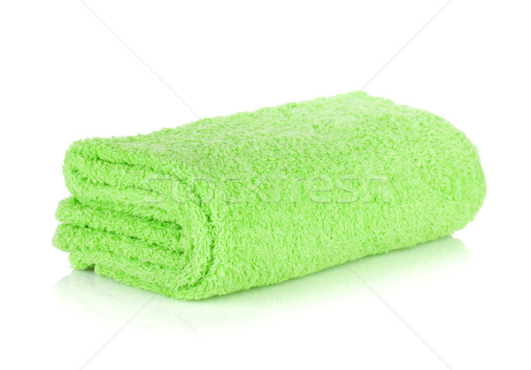 Foto stock: Verde · banho · toalha · isolado · branco · cabelo