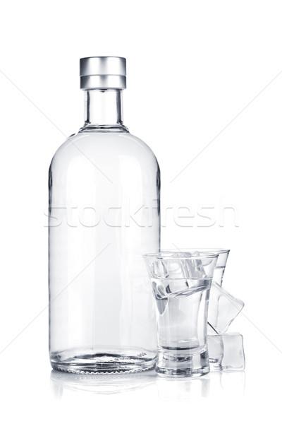 Bouteille vodka coup verres glace isolé Photo stock © karandaev
