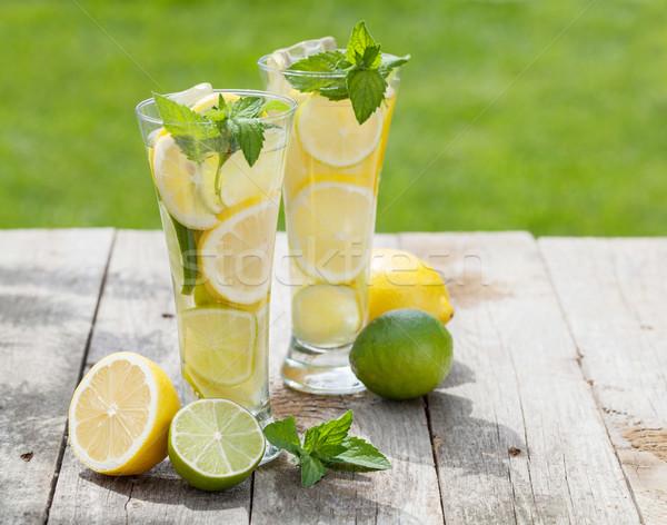 Házi készítésű limonádé friss gyümölcs nyár jég Stock fotó © karandaev