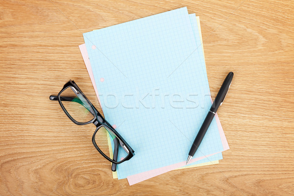 Blank lined paper with office supplies and glasses Stock photo © karandaev