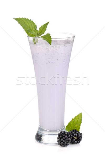 Szeder tej smoothie menta izolált fehér Stock fotó © karandaev