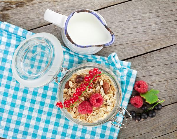 Gezonde ontbijt müsli bessen melk Stockfoto © karandaev