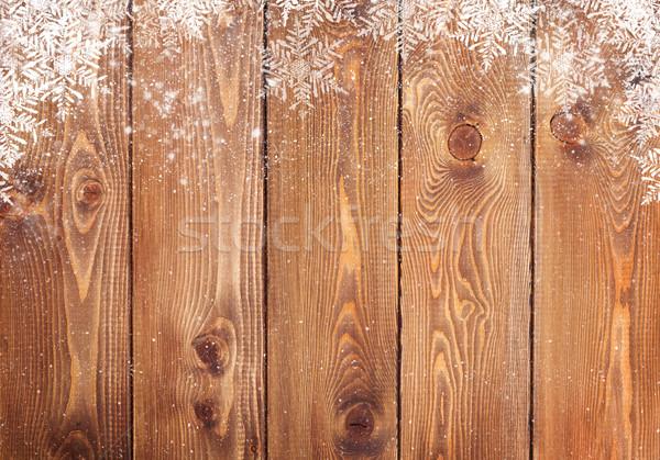 Old wood texture with snow Stock photo © karandaev