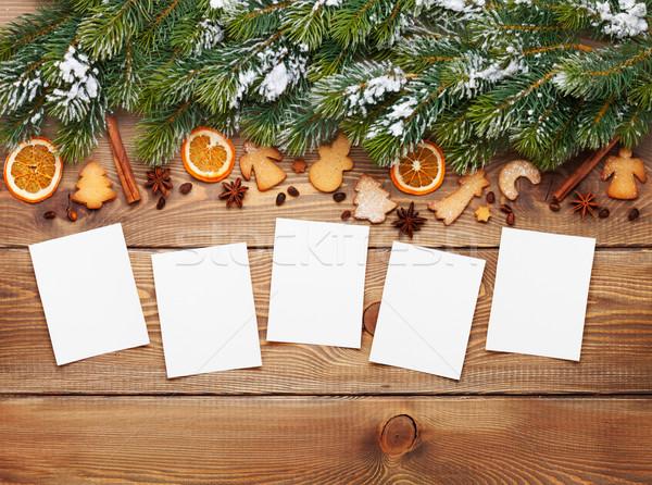 Stok fotoğraf: Noel · fotoğraf · kareler · kar · baharatlar