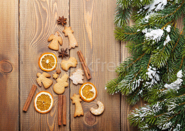 Christmas fir tree made of spices and gingerbread cookies Stock photo © karandaev