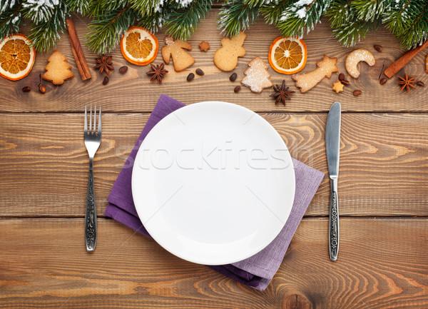 üres tányér ezüst étkészlet karácsony fából készült hó Stock fotó © karandaev