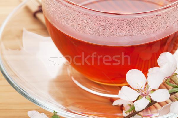 Japonês chá verde sakura ramo bambu tabela Foto stock © karandaev