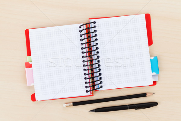 Office table with blank notepad, pen and pencil Stock photo © karandaev