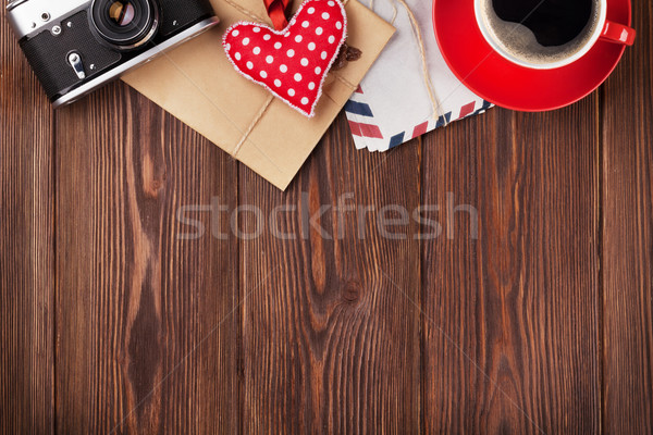 Valentines day toy heart, camera, coffee and mail Stock photo © karandaev
