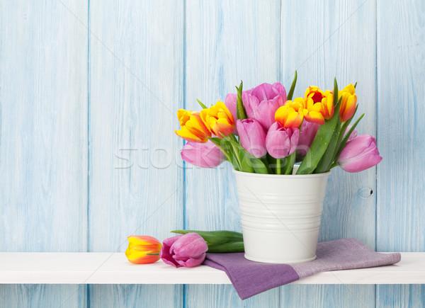 Stock photo: Fresh colorful tulip flowers bouquet