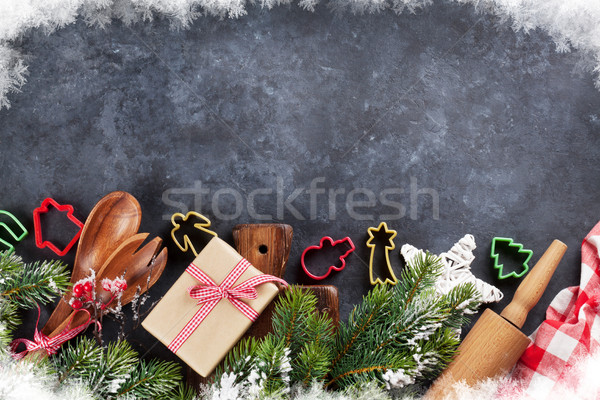 Christmas cooking utensils and tree Stock photo © karandaev