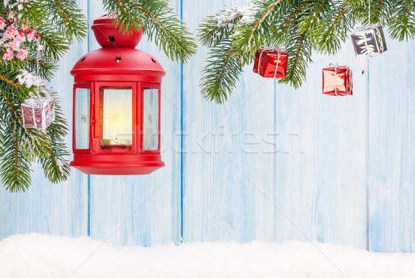 Karácsony gyertya lámpás fenyőfa dekoráció kilátás Stock fotó © karandaev