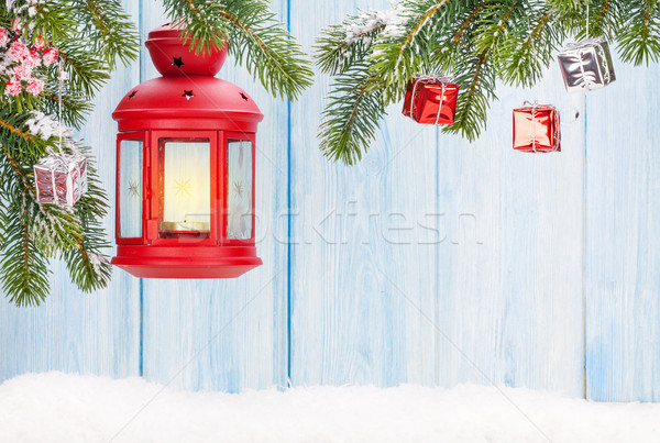 Natal vela lanterna decoração ver Foto stock © karandaev