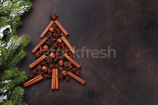 Photo stock: Anis · cannelle · épices · arbre · de · noël · forme · haut
