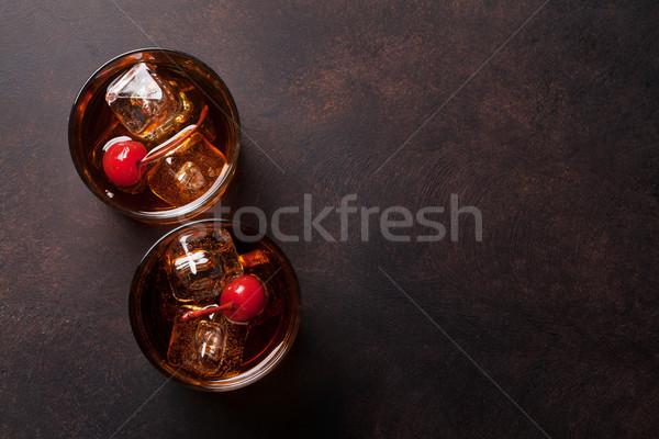 Manhattan cocktail glasses Stock photo © karandaev