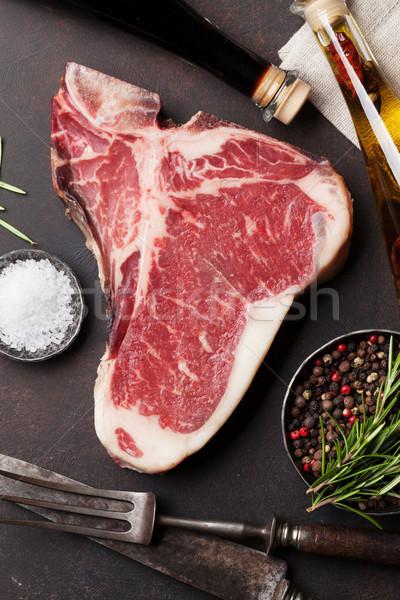 ステーキ 生 料理 石 表 先頭 ストックフォト © karandaev