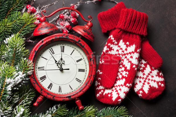 Noel saat eldiveni noel tebrik kartı kar Stok fotoğraf © karandaev