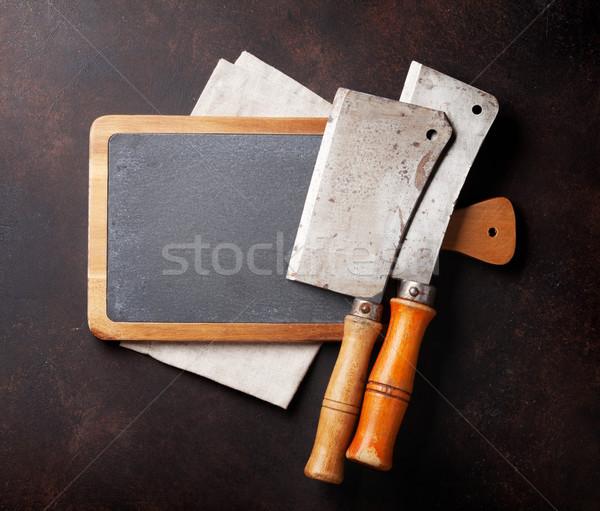 мясник Vintage мяса Ножи каменные совета Сток-фото © karandaev