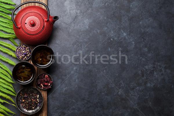 Té tetera negro verde rojo Foto stock © karandaev