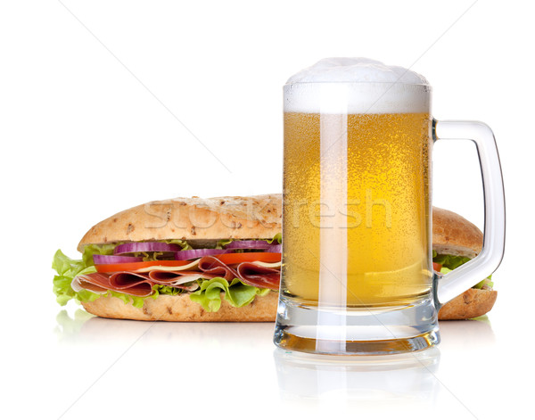 Cold lager beer glass and long sandwich Stock photo © karandaev