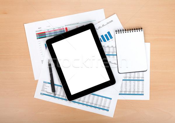 Stock fotó: Tabletta · képernyő · papírok · számok · táblázatok · jegyzettömb