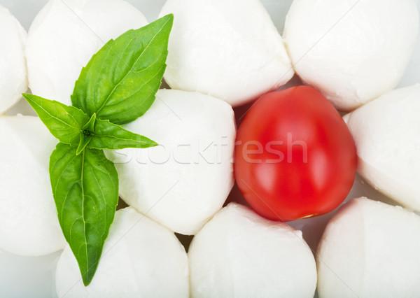 Kicsi darabok mozzarella koktélparadicsom bazsalikom közelkép Stock fotó © karandaev