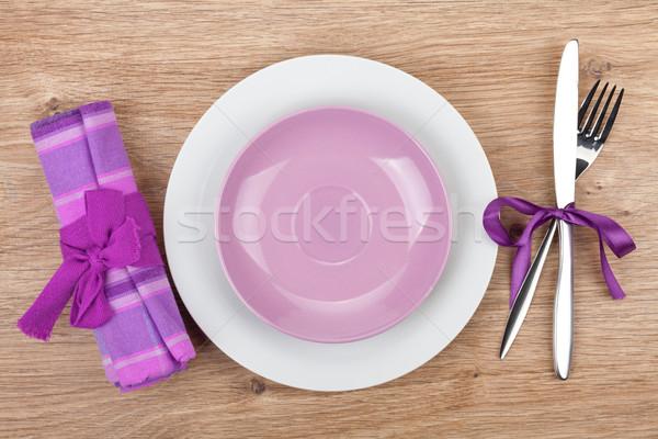 Villa kés tányérok szalvéta fa asztal étel Stock fotó © karandaev