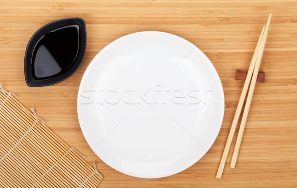 Boş plaka sushi Çin yemek çubukları soya sosu bambu Stok fotoğraf © karandaev