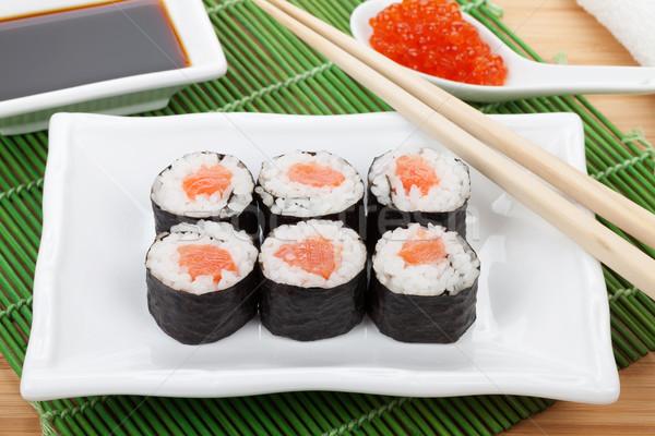Sushi ayarlamak Çin yemek çubukları kırmızı havyar soya sosu Stok fotoğraf © karandaev